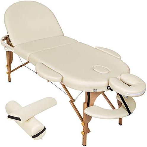 TecTake Camilla de Masaje Mesa de Masaje 3 Zonas Reiki Terapia Oval + Set (Blanco | No. 400194): Amazon.es: Deportes y aire libre
