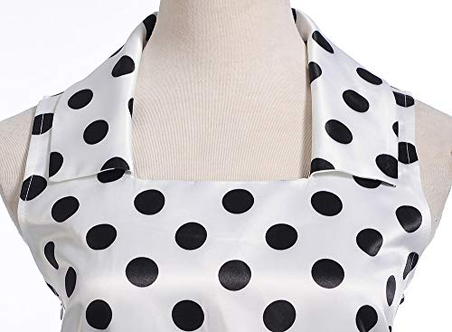 JESPER Women Vintage Square Collar Sleeveless Dot Printed Evening Party Swing Dress US 4/6 White by JESPER (Image #2)