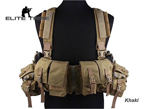 Airsoft Combat Tactical Molle Vest LBT 1961A-R Style Load Bearing Chest Rig Khaki by Paintball Equipment