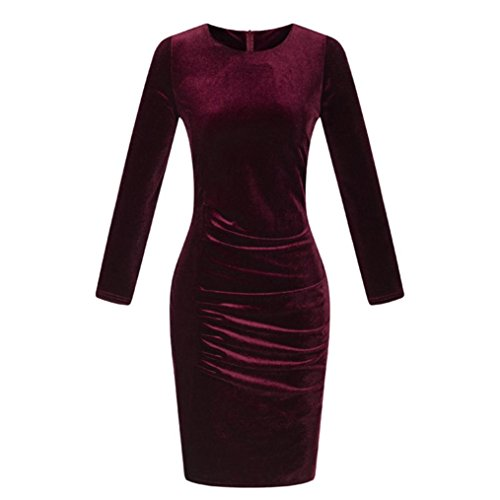 Long Sleeve Casual Dress,Hemlock Women Ladies Velvet Dress Slim Party Dress (S, Wine)
