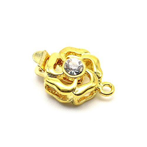 Beautiful Bead Gold-Plated Rose Flower Shaped with Rhinestones 1 Strand Box Clasps for Jewelry Making Golden Color