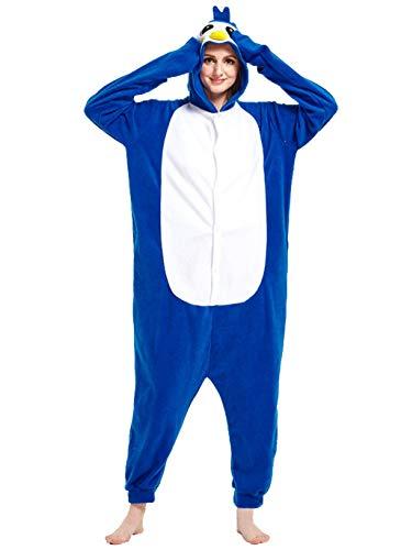 Apiidoo Halloween Christmas Adult Animal Pajama One Piece Cosplay Onesie Costume Blue Penguin M