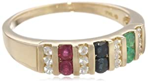 10k Yellow Gold Multi Color Precious and White Sapphire Ring, Size 6