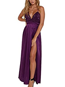 Yimeili Women's Sexy Deep V Neck Backless Split Maxi Cocktail Long Party Dresses(27Color S-XXL)