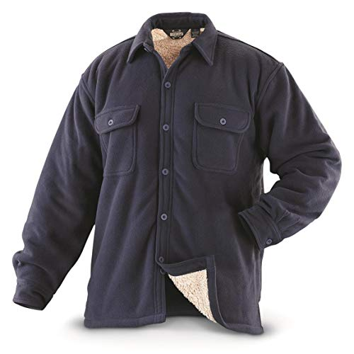 Guide Gear Mens Sherpa Lined Fleece CPO Shirt, Navy, XL (Shirt Fleece Jacket Lined)