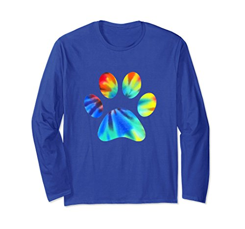 Dog Lover Long Sleeve (Unisex Tie Dye Paw Print t-shirt Animal Pet Cat Dog Lover tee Large Royal Blue)