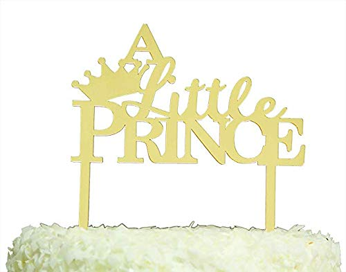 Betalala Gold Crown Little Prince Cake Topper Shower Birthday Wedding Party Decoration ()