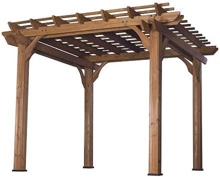 Al aire libre rojo y insectos resistente 100% natural Cedar Pergola 10 x10 & Bundle Bono de madera masaje peine (Set de 2): Amazon.es: Jardín