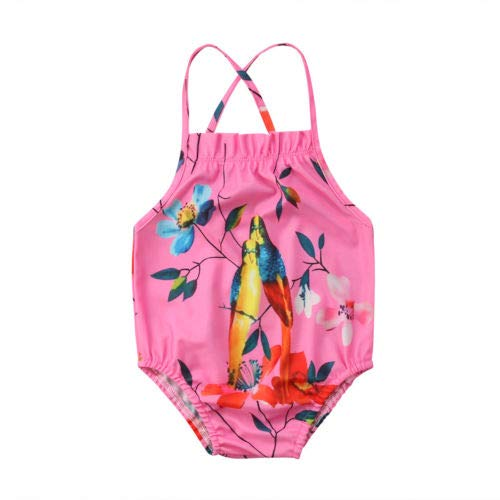 Red 4 to 5 Years Old CUSHY Flowear y Swimwear 2018 Summer New One Piece Swimsuit y Girls Bathing Suit Parrot Swimming Clothes Beach Outfits 2-7T Fits