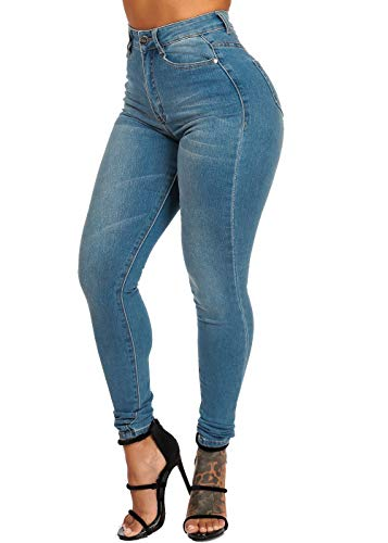 ModaXpressOnline High Waisted Light Wash 1 Button Skinny Jeans 10588P