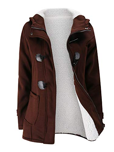 Verdusa Women's Slim Skinny Winter Warm Coat Hooded Jacket Outerwear Coffee ()