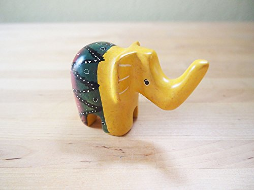Kenya Handcrafted (Handcrafted African Yellow Soapstone Elephant Sculpture Made in Kenya, Assorted Patterns)