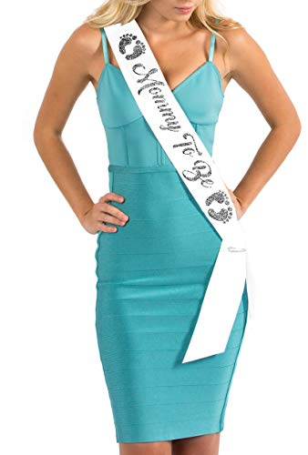 - Dulcet Downtown White Satin Baby Shower Sash - Mommy To Be - Encased Glitter Lettering (White/Gray)