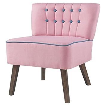 STANFORD Fauteuil en bois - Tissu rose boutons bleu - Classique - L 60 x P 44 cm
