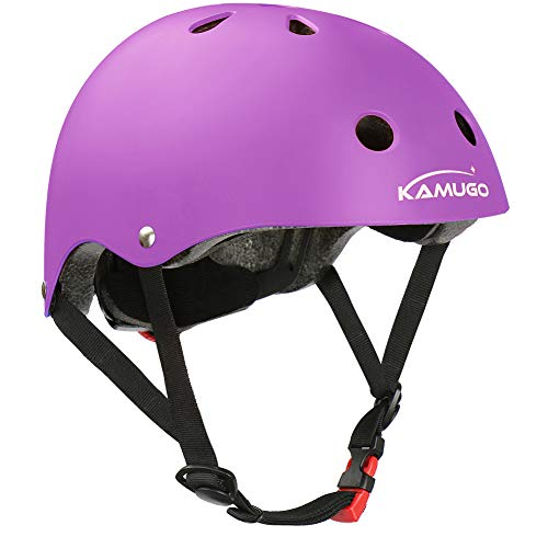 KAMUGO Kids Bike Helmet, Toddler Helmet for Ages 3-8 Boys Girls with Sports Protective Gear Set Knee Elbow Wrist Pads for Skateboard Cycling Scooter Rollerblading, CPSC Certified (Purple-01)