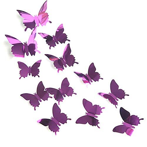 AKOAK 24 Pcs 3D Mirror Effect Butterfly Wall Sticker Art Decor Decals -