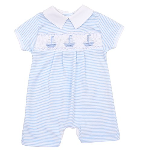 Magnolia Baby Baby Boy Classic Sailboats Smocked Collared Short Playsuit Blue 6 Months (Smocked Sailboat)