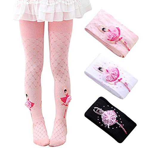 3cd0ad694 Ehdching Pack of 3 Kids Girls Baby Tights with Ballet Dance Girl Stockings  Pantyhose Tights for