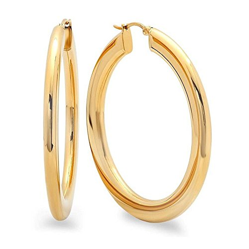 2 Inches Wide Stainless Steel Yellow Hoop Earrings with Oval Desgin ()
