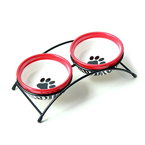 iChoue Ceramic Pet Bowls Set of Stoneware Bowels for Cat Dog Feeding Set With Metal Holder Zebra-Striped Size - Pattern Red Zebra