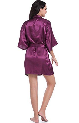 V Hammia Corta Dark Notte In Kimono Camice scollo Cintura Con Vestaglia Camicia Raso Elegante Pigiama Da Purple Donna Raso Cintura BPUOrqB