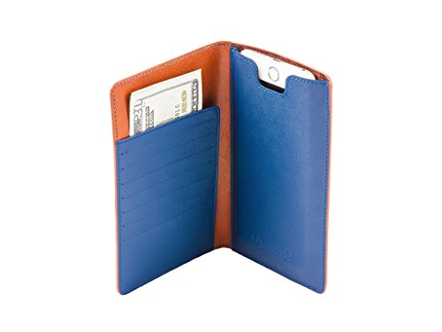 Leather wallet with iPhone 6/6s/7 Plus case by Danny P. (Brown/Blue) by Danny P. leather accessories