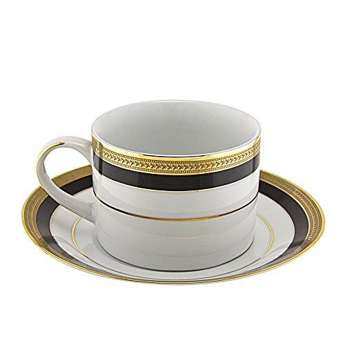 10 Strawberry Street Sahara Black Cup and Saucer (Set of 6) SAH-9BK6