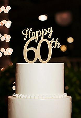 Amazon.com: Happy 60th Rustic Wedding Anniversary Cake Toppers ...