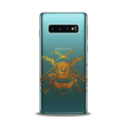 (Lex Altern TPU Case for Samsung Galaxy s10 5G Plus 10e Note 9 s9 s8 s7 Clear Orange Watercolor Bumblebee Illustration Cute Phone Insect Cover Protective Light Weight Women Soft Silicone Transparent)
