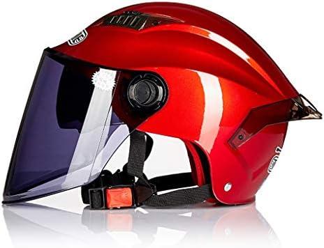 ZJJ ヘルメット- ユニセックスヘルメット、ファッションレイン、UVプロテクションヘルメット、ダブルレンズ (色 : 赤, サイズ さいず : 19x27cm)