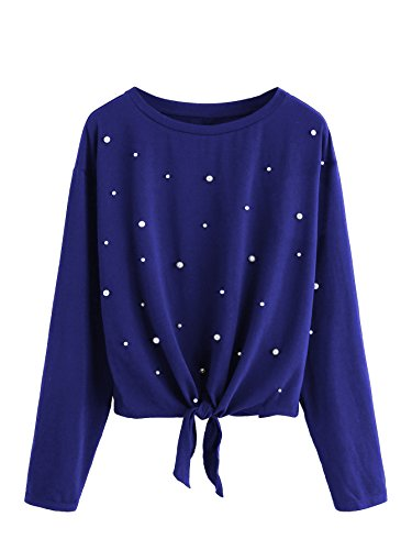 Knit Tee Beaded - ROMWE Women's Pearl Beaded Knot Front Long Sleeve T Shirts Top Blue Large