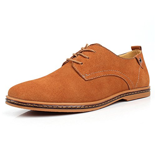 SHELAIDON Scarpe Stringate Basse Oxford Uomo, Scarpe di Pelle Uomo, Oxford Shoes Men Cammello