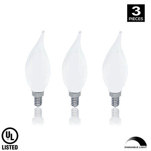 Xtricity LED Candelabra Filament Flame Tip Frosted Bulb, 6 Watts ( 60 Watt Equivalent ) 120 Volt, E12 candelabra Base 3000K Soft White Dimmable Candle Led Bulb, UL Listed (Pack ()