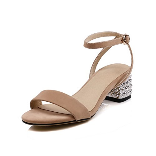 AdeeSu Womens Sandals Peep-Toe Buckle Adjustable-Strap High-Heel Cold Lining Smooth Leather Light-Weight Huarache Urethane Sandals SLC03492 Nude X8lMx