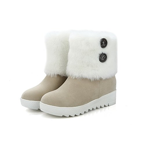 Frosted Closed Women's Kitten AgooLar Beige Boots Heels Low Round Solid Toe Top gUSwdxwn