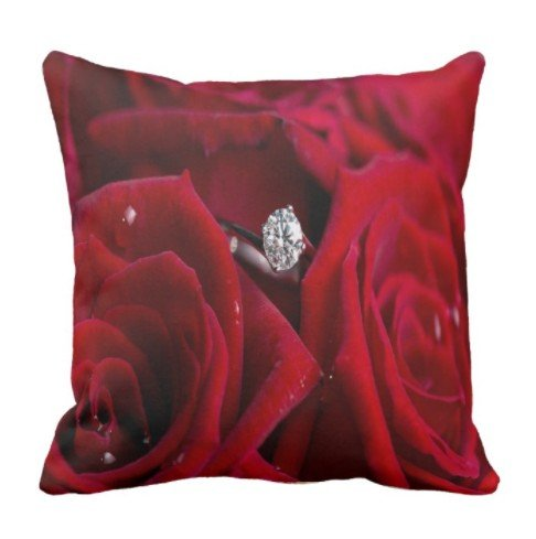perfecone Home Improvement Pillowcase Red Roses and Diamonds Design for Sofa and car Pillow case 1 Pack 20x20 inch