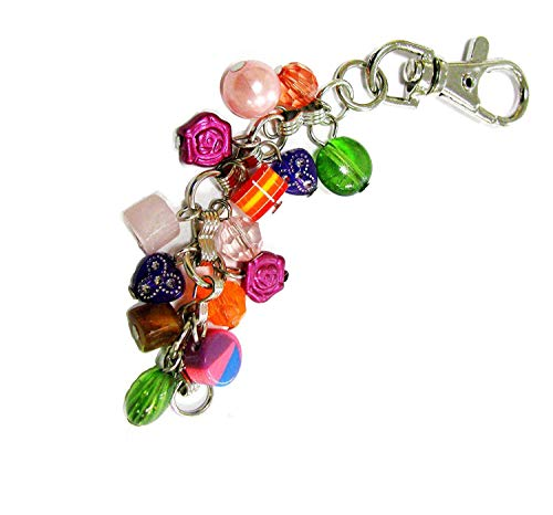 Linpeng Multi-Purpose Keychain with Various Shapes Colorful Beaded Dangles Mixed -