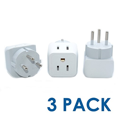 Israel, Palestine Travel Adapter Plug by Ceptics with Dual USA Input - Type H (3 Pack) - Ultra Compact- Safe Grounded Perfect for Cell Phones, Laptops, Camera Chargers and More (CT-14)