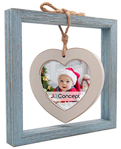 JD Concept 8x8 Size Creative Barnwood Picture Frame, Heart Photo Frame Hemp Rope Hanged on Desk-top (Distressed Wood, Blue/White) (Heart Shaped Pic Frame)