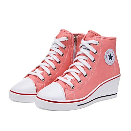 U-MAC Womens Wedge Sneakers Causal Shoes for Girls Breathable High Platform Denim Canvas Thick Bottom Hidden Heel Footwear ()