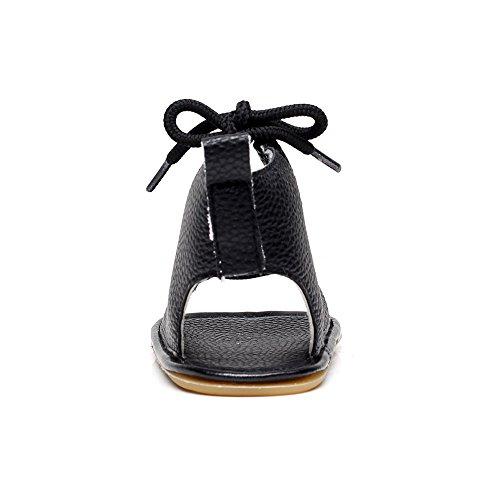 Enfants Bébé Marche Shoes Huateng Noir Roman Sandales Chaussures Pu Toddler Strap Première R7nUHxqwU