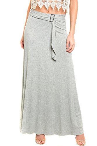 Womens Basic Jersey Knit Full Maxi Skirt with Waistband Detail U.S.A - Grey, (Long Skirt Jersey)