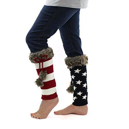 White American Flag Knit Boot Cuffs, Lined Adjustable Leg Warmers w/ Faux Fur (Sleeve Boot Fur Faux)