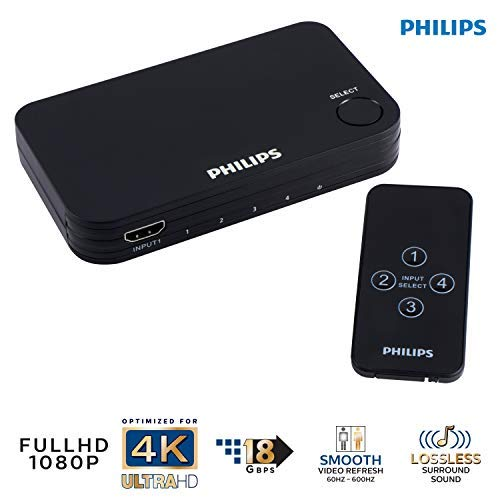 Philips 4 Device HDMI Switch, Wireless Remote, Use with 4K Smart TV Roku Xbox PS3 PS4 Fire Stick DVD Blu Ray Fire TV HDTV Cable Box PC, 4K 1080p 60 FPS, Ultra HD, HDCP 2.0, Black, SWV9484B/27