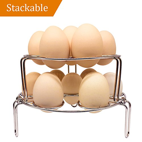 Steamer Rack for Instant Pot, NeoJoy Stackable Egg Vegetable Pressure Cooker Steam Rack, Stainless Steel Food Basket Stand, 2Pcs