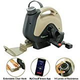 Exerpeutic 900 ExerWork Bluetooth Under Desk Exercise Bike with Extendable Chair Hook for All User Height and Free APP
