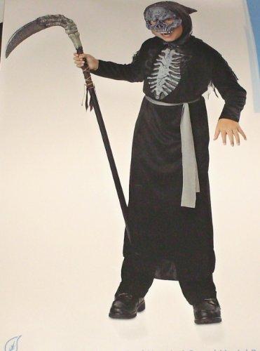 Grey Skeleton Reaper Robe For Kids (Phantom Messenger Costume Child Size Medium (8-10))