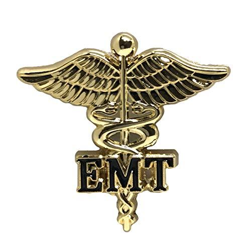 Emergency Medical Technicians Nurse Emblem Lapel Pin - Letters on Caduceus Brooch - EMT Medical Ceremonie Clip Brooch