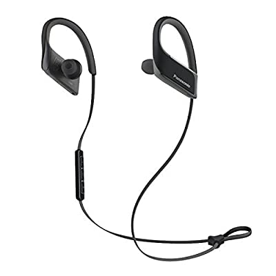 Panasonic WINGS Best in Class Wireless Bluetooth In Ear Earbuds Sport Headphones with Mic+ Controller RP-BTS30-W (Metallic White) with Travel Pouch, Water Resistant, iPhone, Android Compatible