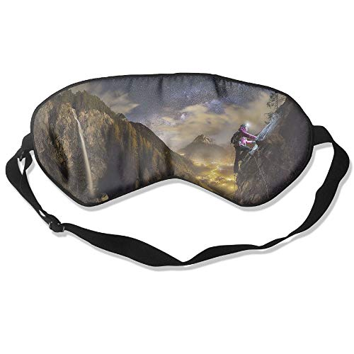WUGOU Sleep Eye Mask Rock Climbing Landscape Lightweight Soft Blindfold Adjustable Head Strap Eyeshade Travel Eyepatch